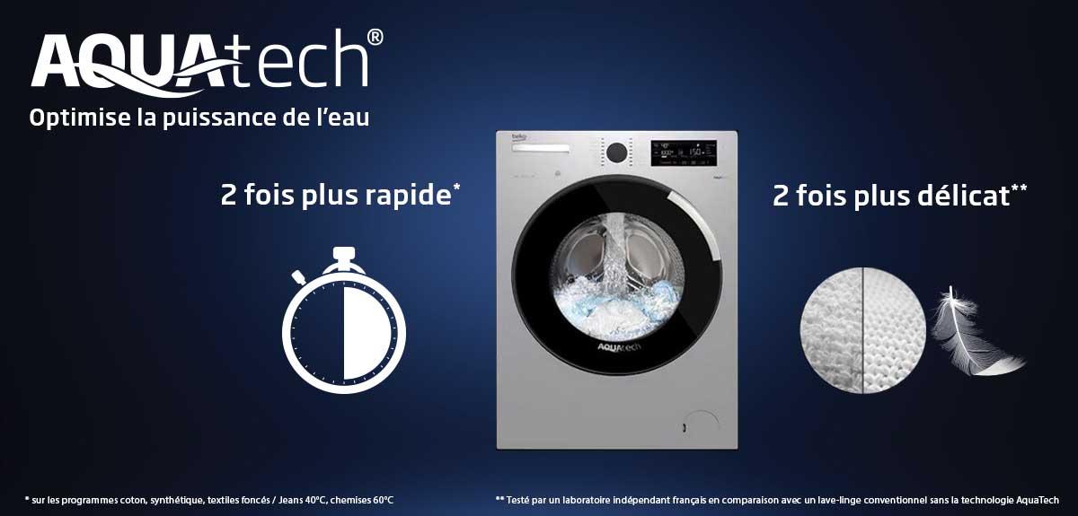 Lave-linge Aquatech : 2 fois plus rapide et 2 fois plus délicat