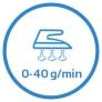 Fer à repasser vapeur Vapeur continue 0-40gmin. Pressing 150gmin.