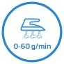 Entretien du linge Vapeur continue 0-60gmin. Pressing 240gmin.