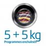 Lave-linge séchant 8kg + 5kg Programmes enchaînés 5+5kg