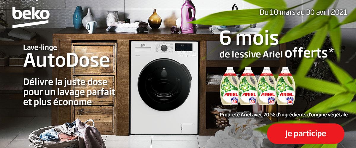 bénéfices de l'association Autodose Beko et Ariel liquide pour un lavage parfait et plus économe