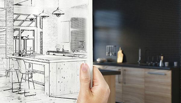 Dessin d'architecte pour la conception d'une cuisine équipée